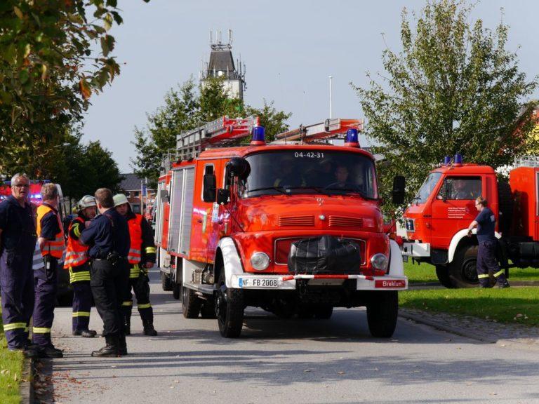 Übung der Feuerwehrbereitschaft Nordfriesland in Risum-Lindholm
