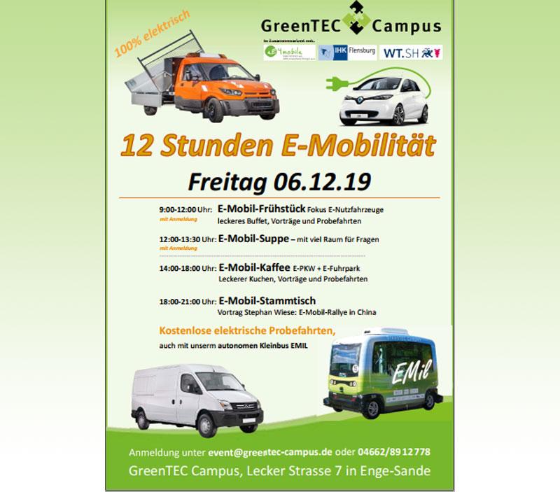 12 Stunden E-Mobilität auf dem GreenTEC Campus am 06.12.2019 von neun bis neun - Nordfriesland O. Nachrichten